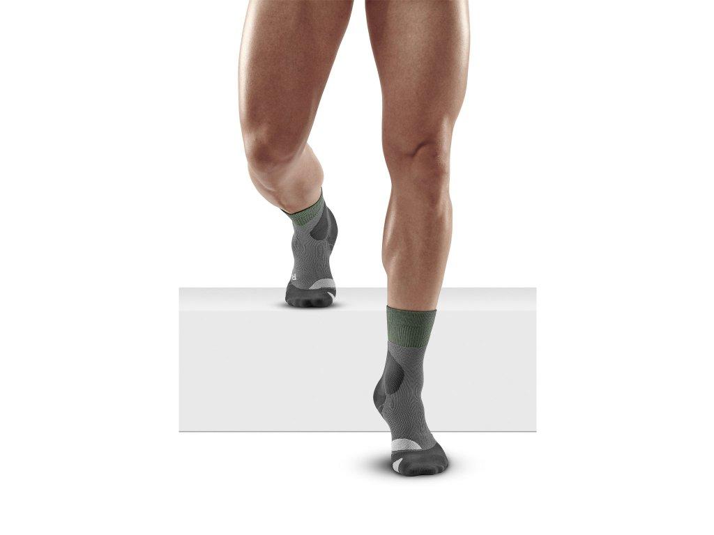 Hiking Merino Mid Cut Socks forestgreen grey m front model 1536x1536px