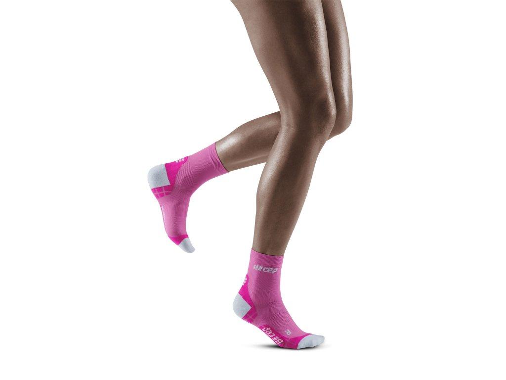 Ultralight Short Socks electricpink lightgrey w front model 1536x1536px