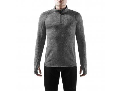 Winter Run Shirt LS black melange m front model 1536x1536px