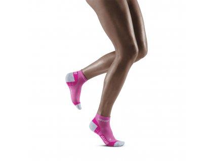 Ultralight Low Cut Socks electricpink lightgrey w front model 1536x1536px