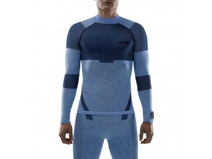 Ski Touring Base Shirt LS blue m front model 1536x1536px