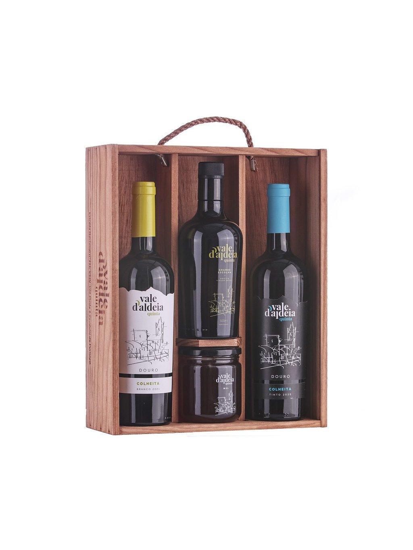 dárková sada víno, olivový olej a med