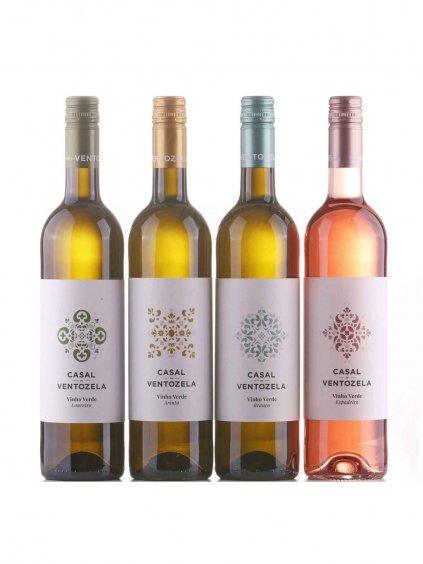 sada jemně perlivých vín Vinho Verde