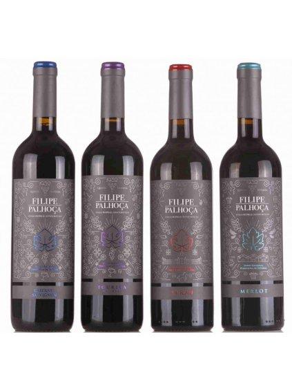 sada červených odrůdových vín z oblasti Setúbal