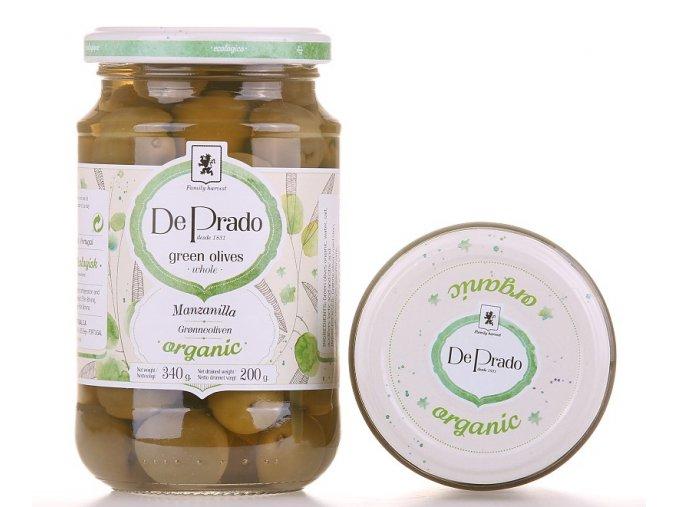 Zelené olivy De Prado s peckou BIO 340g