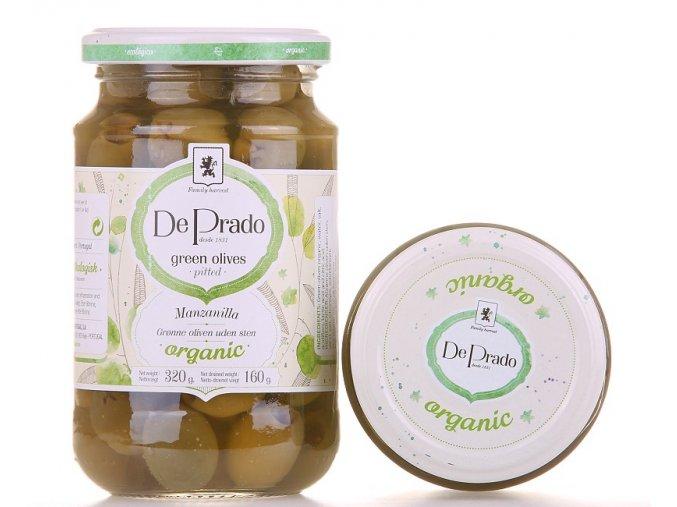 Zelené olivy De Prado vypeckované BIO 320g