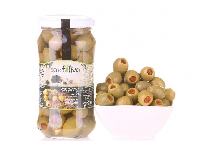 Olivy zelené plněné paprikou 360g