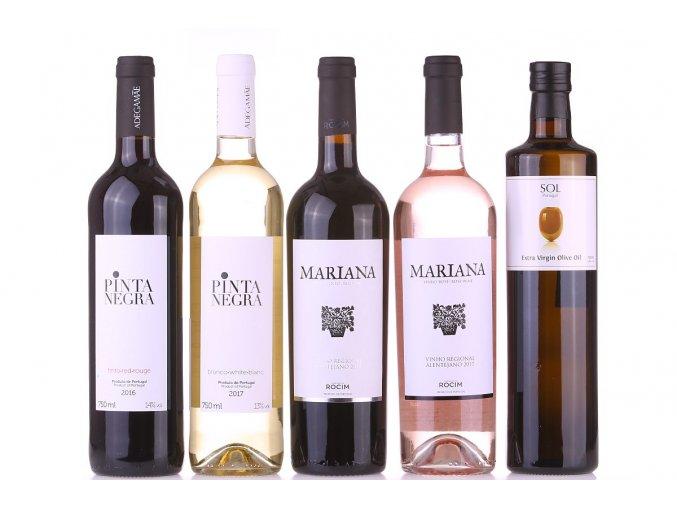 sada vín a olivového oleje na grilování
