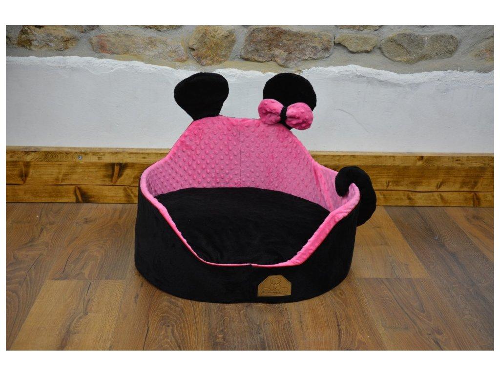 Cerino luxusní měkoučký pelíšek ANIMAL průměr 60cm růžovočerný