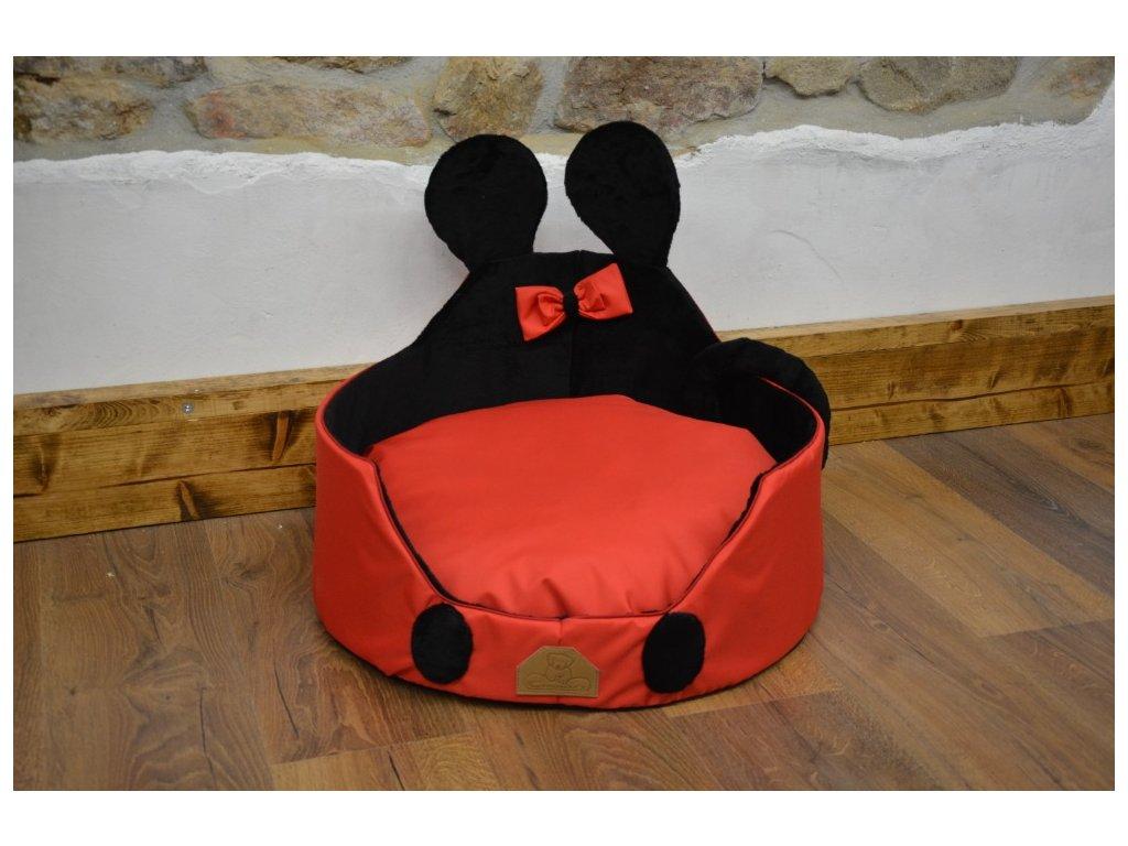 Cerino luxusní měkoučký pelíšek ANIMAL průměr 60cm červenočerný