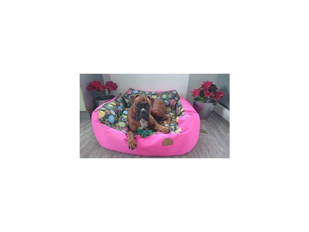 Cerino pelech pro střední plemena Imola křeslo 110 x 95 x 20 vzor růžová kytička