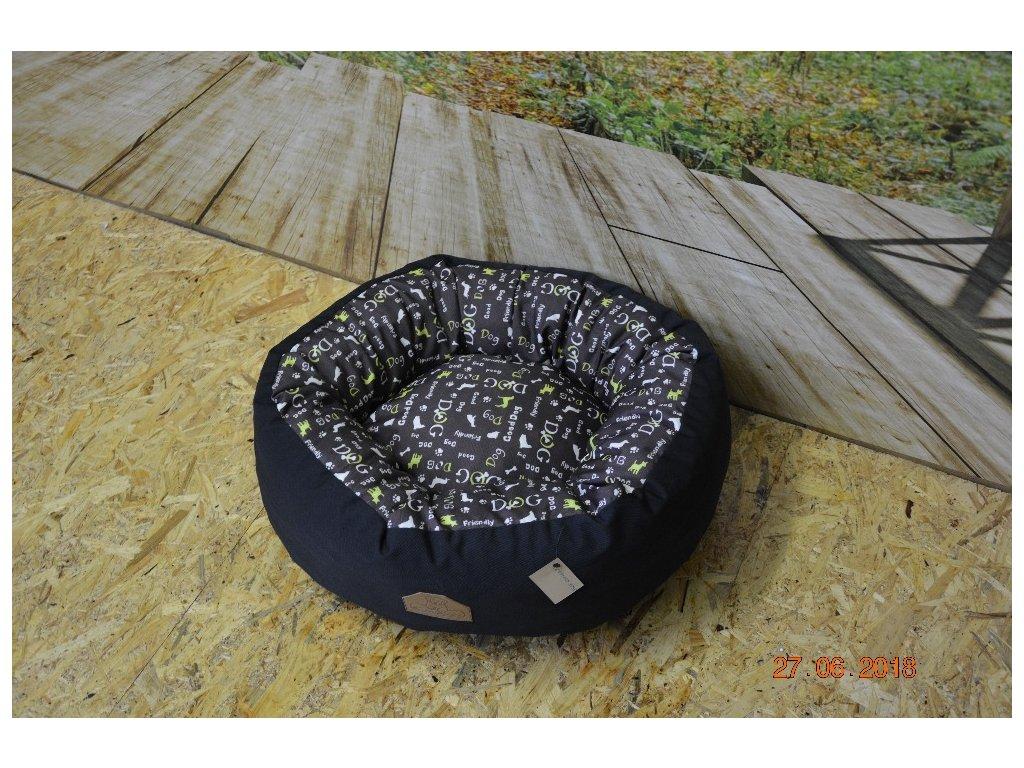 Cerino pelíšek NEST ovál 60cm x 55cm x 18cm psí motiv limetkový