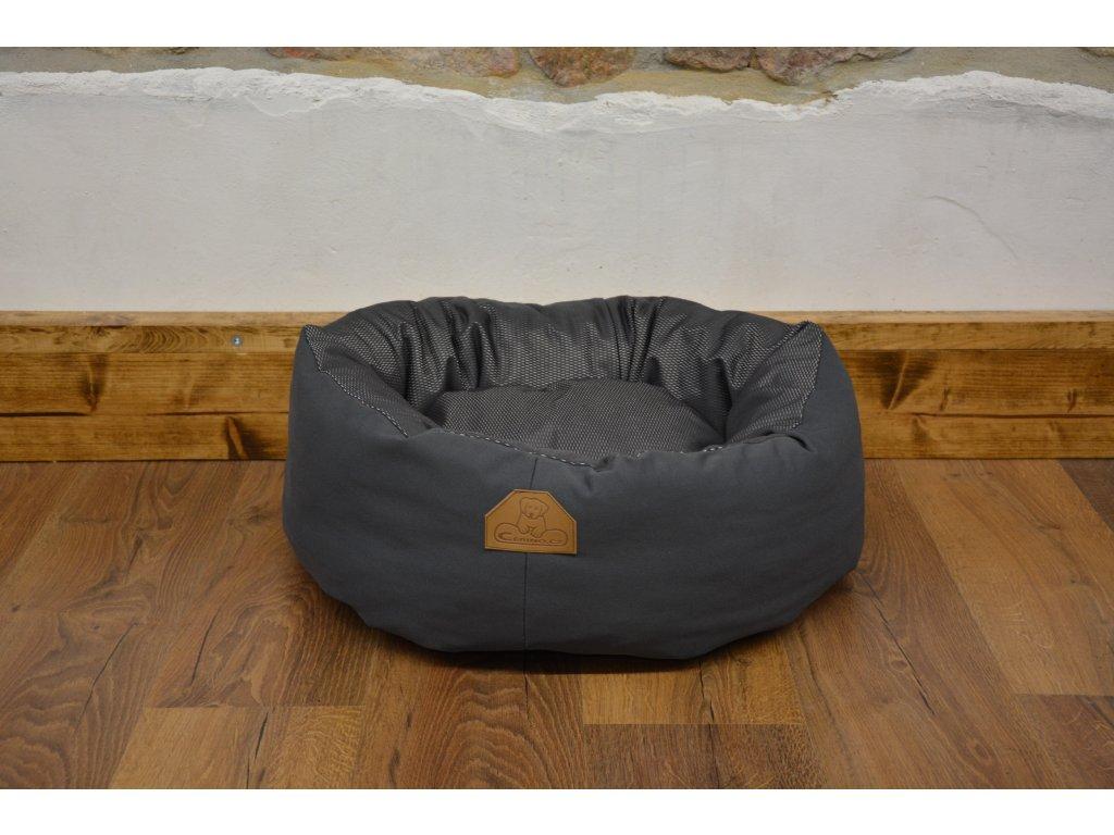 Cerino pelíšek NEST ovál 60cm x 55cm x 18cm textilní stříbrná
