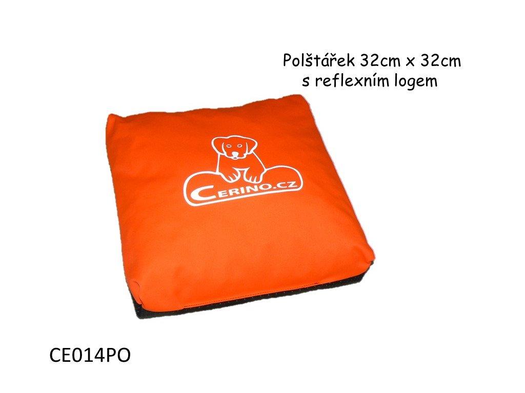 Polštářek CERINO s reflexním logem 32 x 32 oranžový