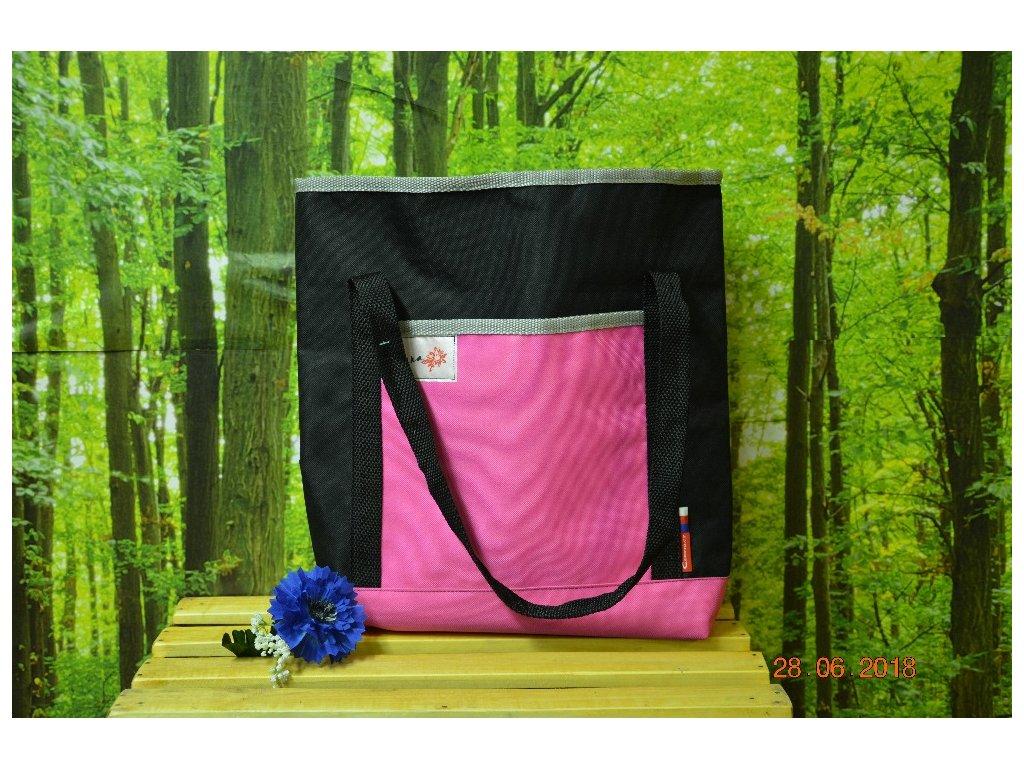 Taška LENA 2 39x30x9 černá/růžová