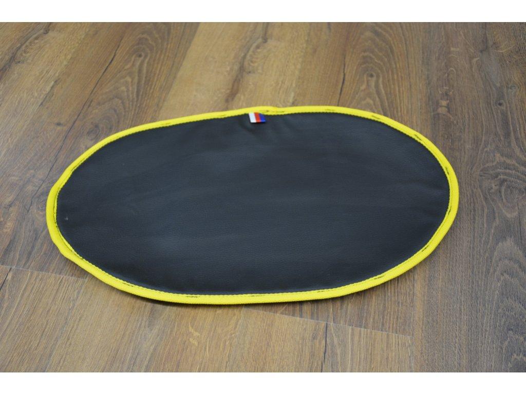 Cerino podložka pod misky oválná 53x32 cm omyvatelná a voděodolná celočerná žlutý lem