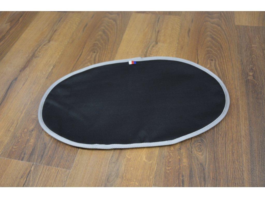 Cerino podložka pod misky oválná 53x32 cm omyvatelná a voděodolná černá šedý lem