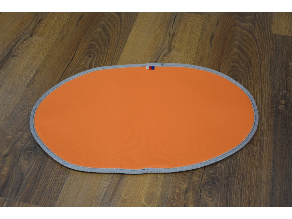 Cerino podložka pod misky oválná 53x32 cm omyvatelná a voděodolná oranžová šedý lem