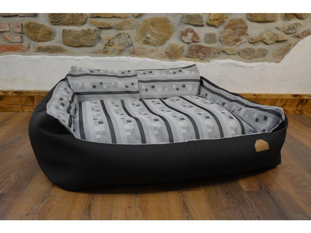 Cerino pelech Křeslo Imola M ORCA 125 x 115 x 15 cm - Textilní zátěžová látka - ČERNÁ/ŠEDÁ KOSTKA