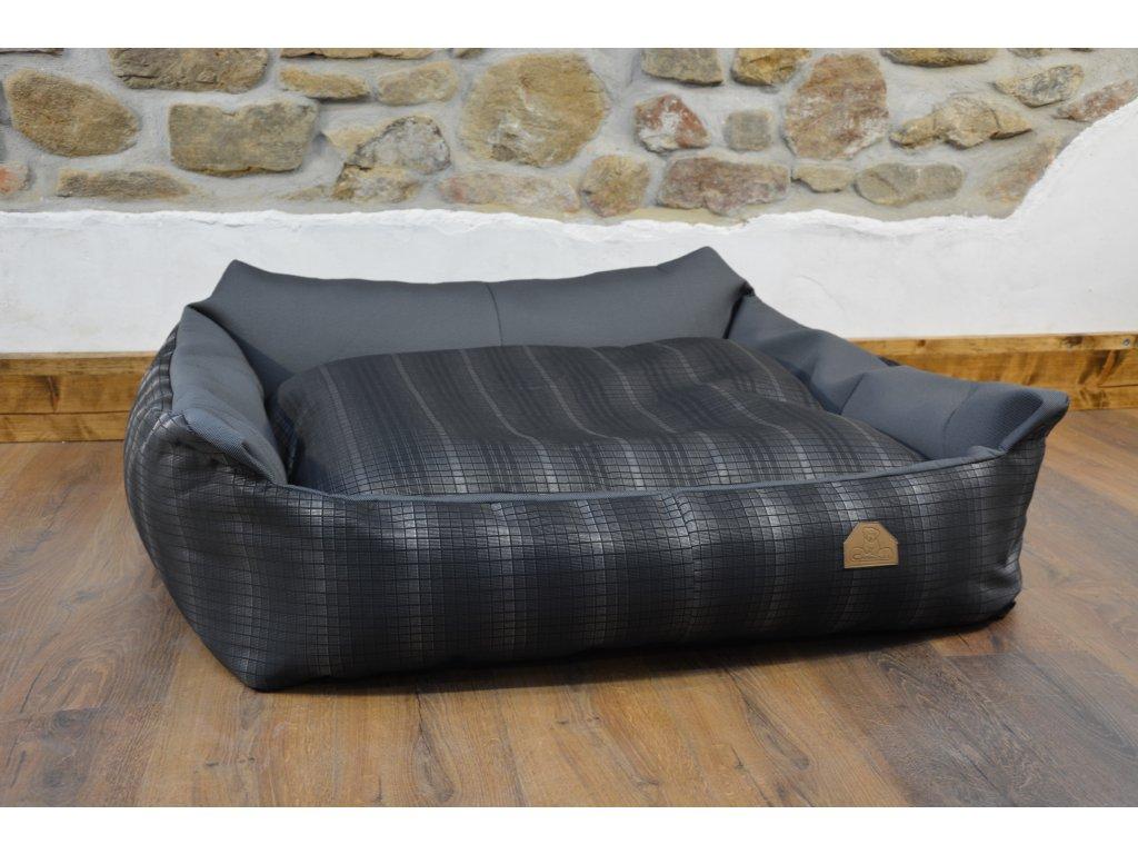 Cerino pelech Křeslo Imola M ORCA 125 x 115 x 15 cm - Textilní zátěžová látka - STŘÍBRNÁ KOSTKA/ŠEDÁ