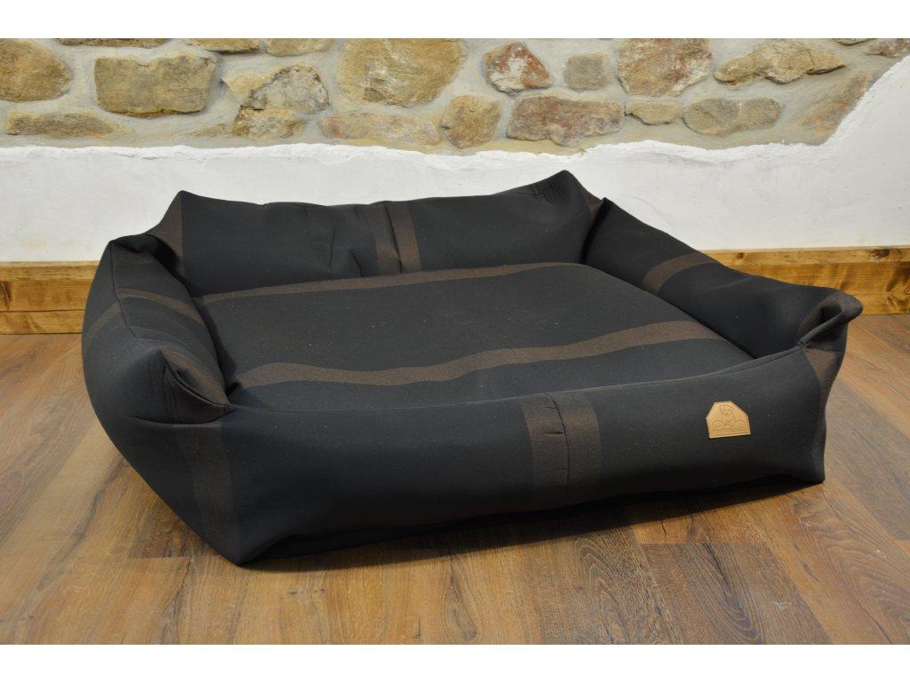 Cerino pelech Křeslo Imola M ORCA 125 x 115 x 15 cm - Textilní zátěžová látka - ČERNÁ/HNĚDÝ PRUH