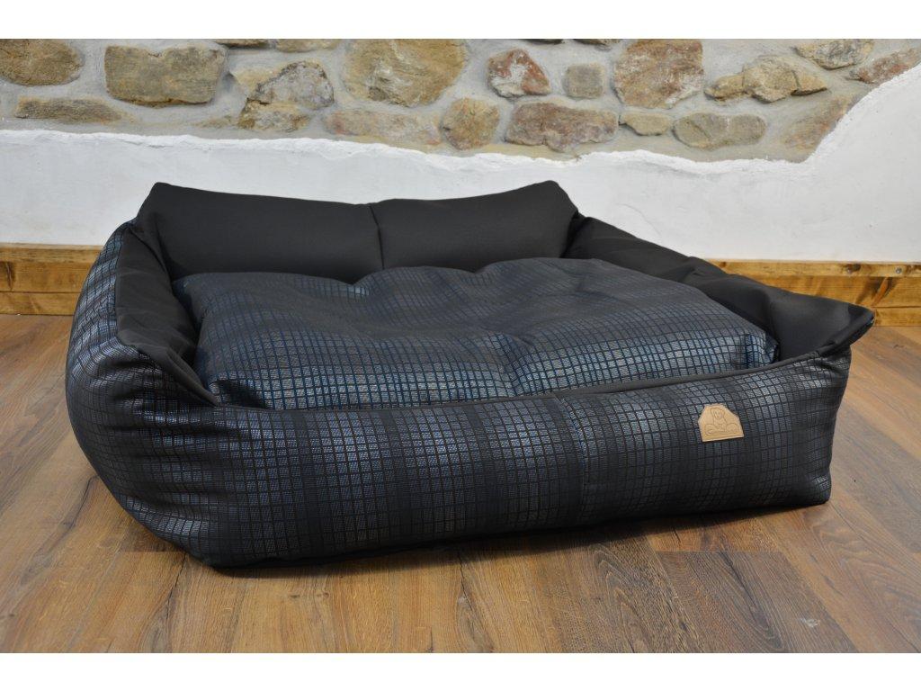 Cerino pelech Křeslo Imola M ORCA 125 x 115 x 15 cm - Textilní zátěžová látka - MODRÁ KOSTKA/ČERNÁ
