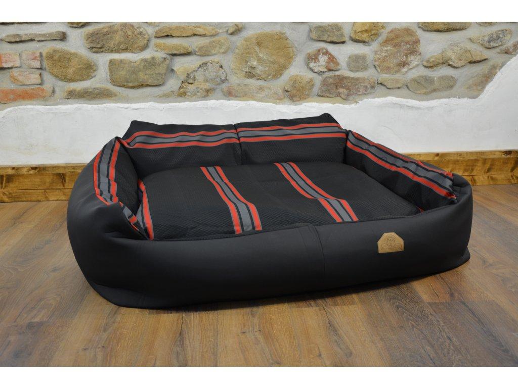 Cerino pelech Křeslo Imola M ORCA 125 x 115 x 15 cm - Textilní zátěžová látka - ČERNÁ/ČERVENOŠEDÝ PRUH