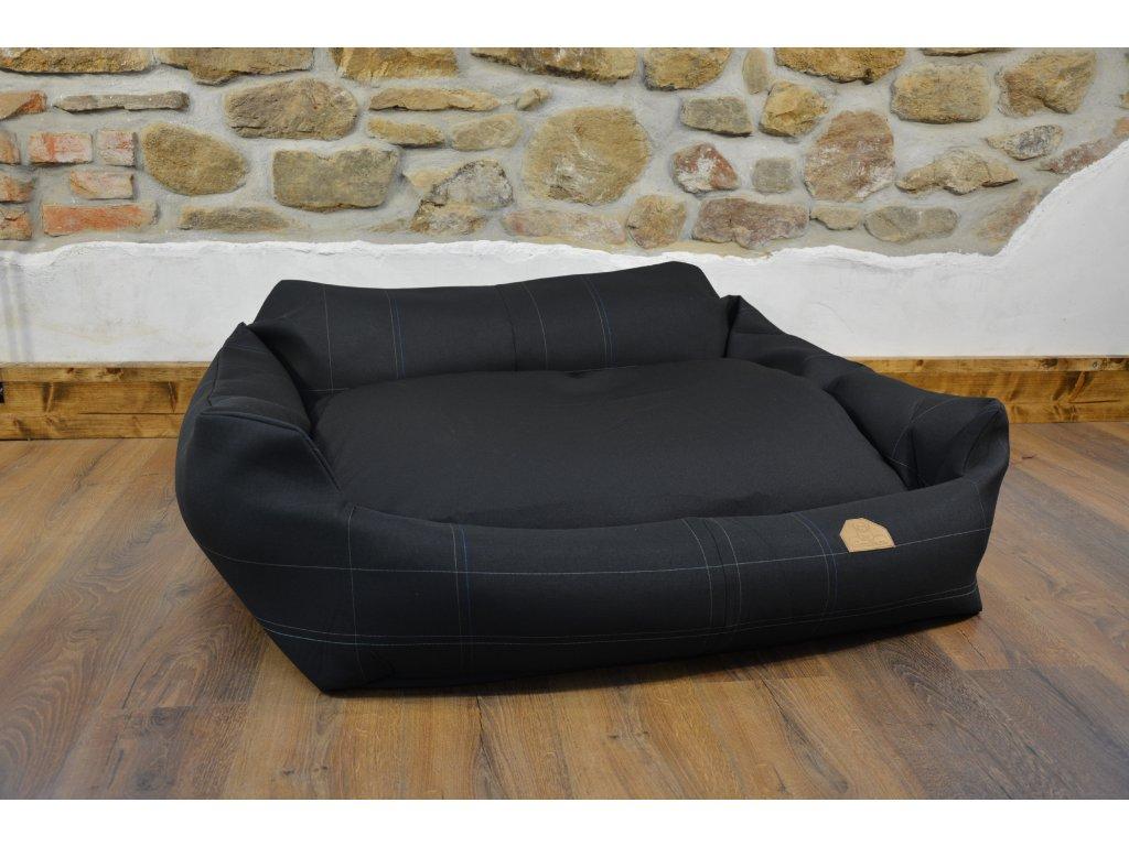 Cerino pelech Křeslo Imola M ORCA 125 x 115 x 15 cm - Textilní zátěžová látka - CELOČERNÝ/MODRÁ LINKA
