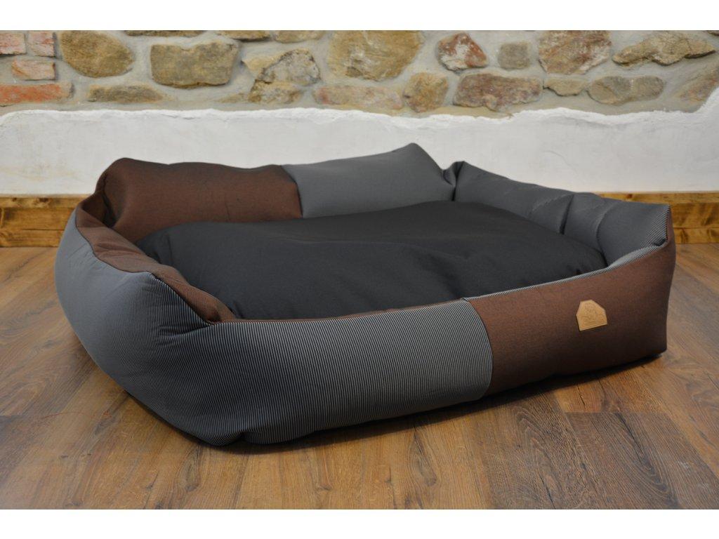 Cerino pelech Křeslo Imola M ORCA 125 x 115 x 15 cm - Textilní zátěžová látka - ČERNÝ PROUŽEK/HNĚDÁ CIK CAK