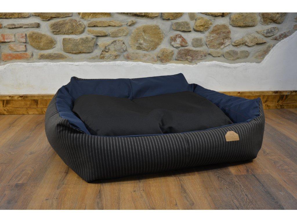 Cerino pelech Křeslo Imola M ORCA 125 x 115 x 15 cm - Textilní zátěžová látka - ČERNÁ/MODRÁ