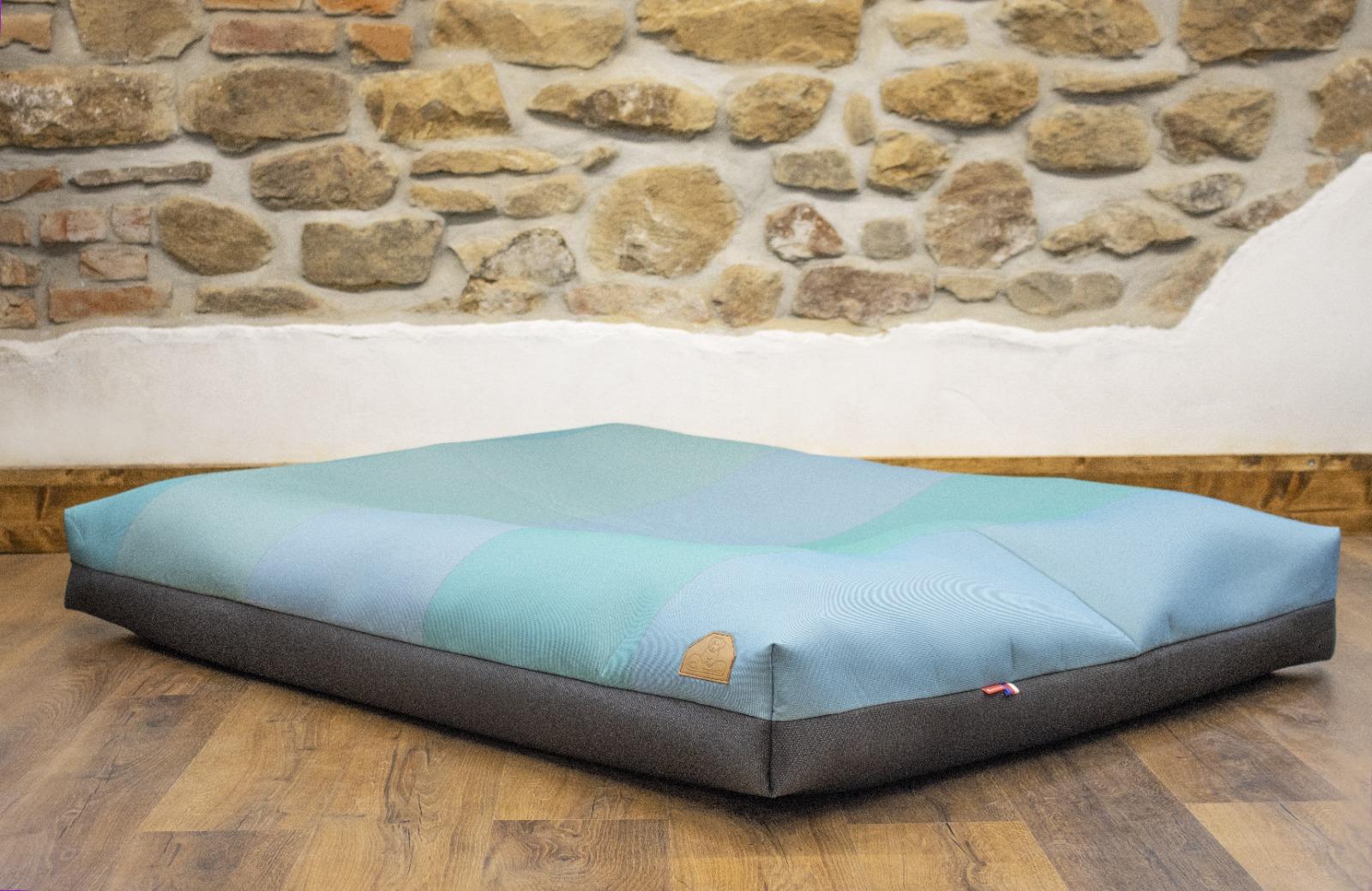 Cerino pelech Ortona - textilní potah tyrkys a modrá 160x120x15cm