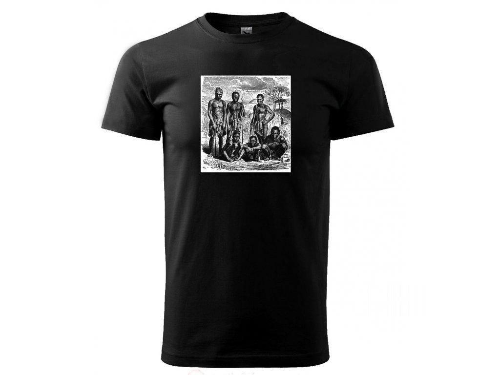 78bb37ea944 Afričtí domorodci na lovu - tričko s potiskem - Černé triko