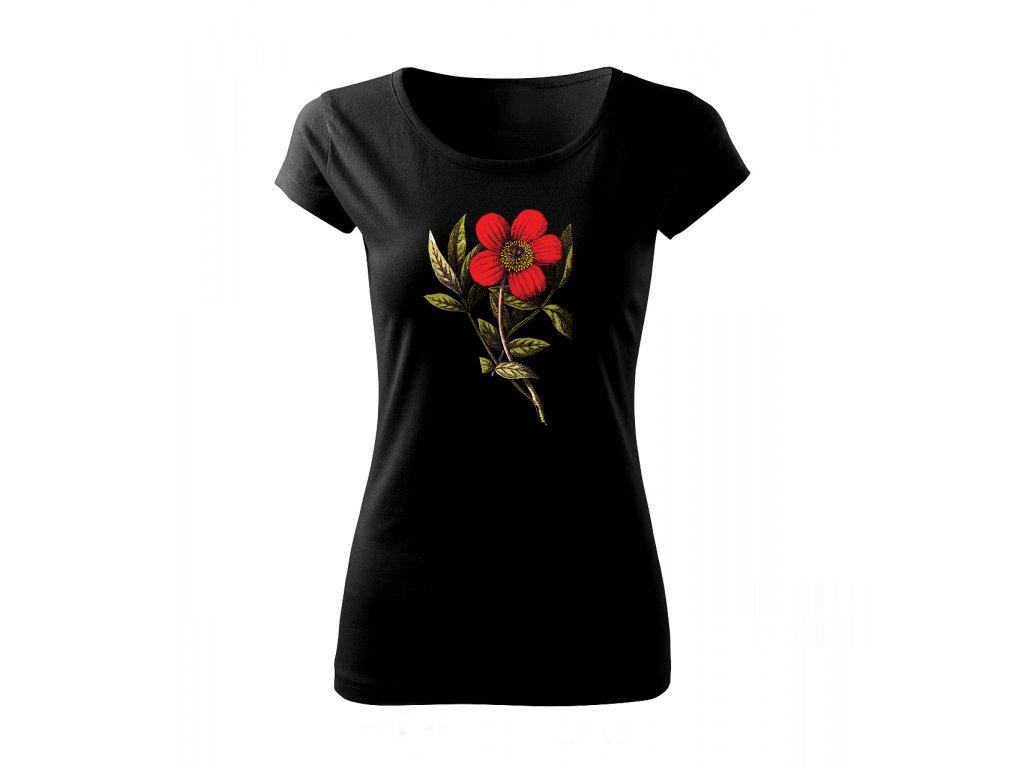 červený květ dámské tričko