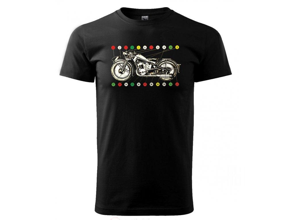 Černé tričko s potiskem motorka