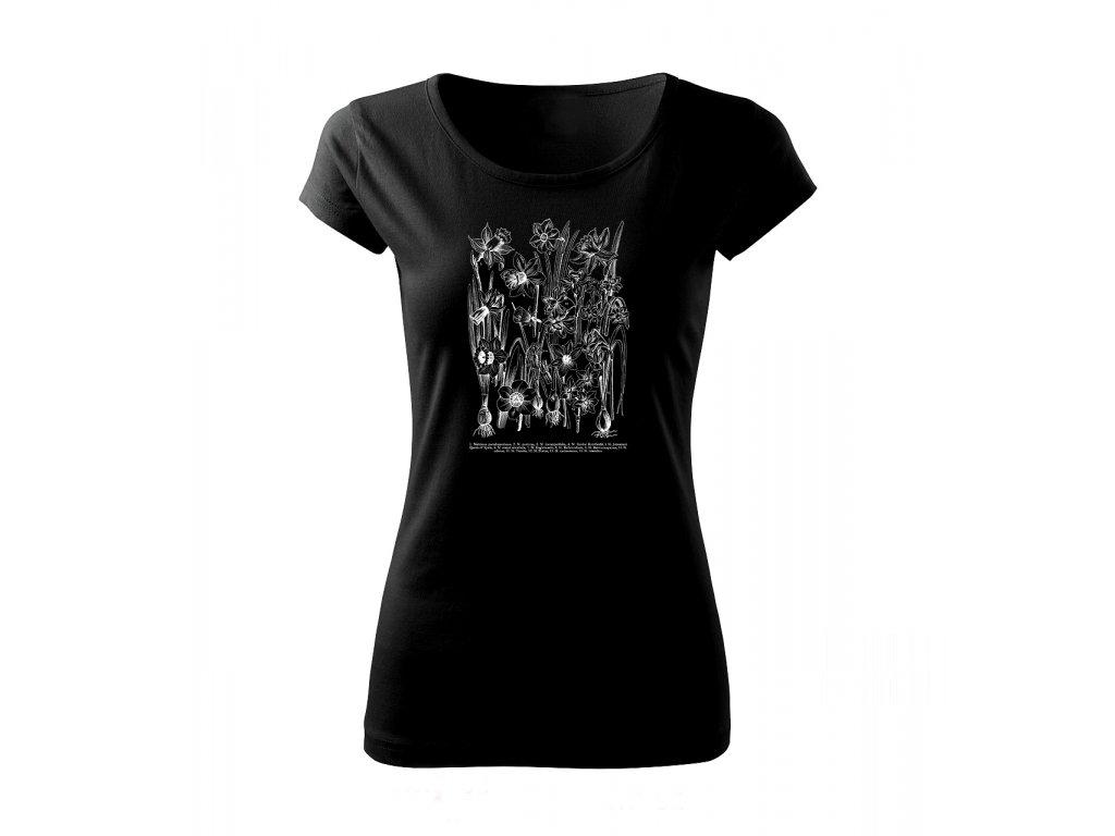 Narcis bílý - tričko s potiskem - Černé triko db9ccd7c2b