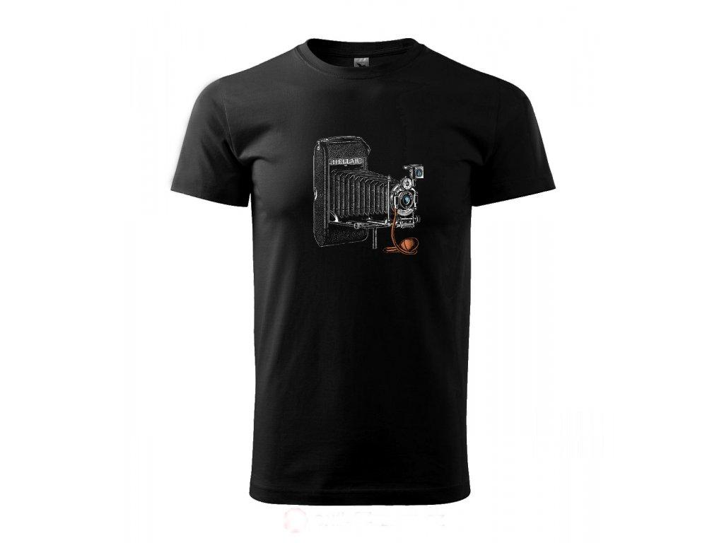 pánské černé tričko měchový fotoaparát