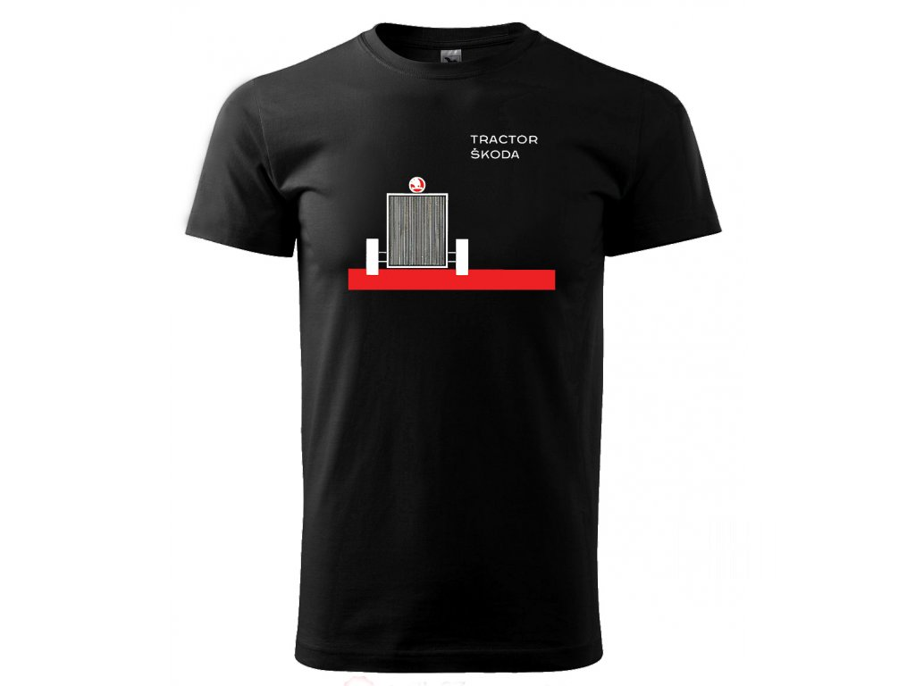 Černé tričko s potiskem traktor Škoda