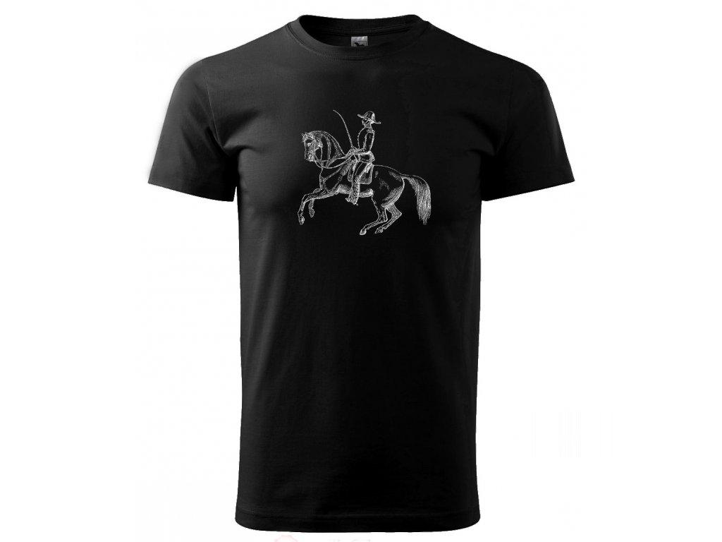 Barokní ježdění - tričko s potiskem - Černé triko 5bd4b49403