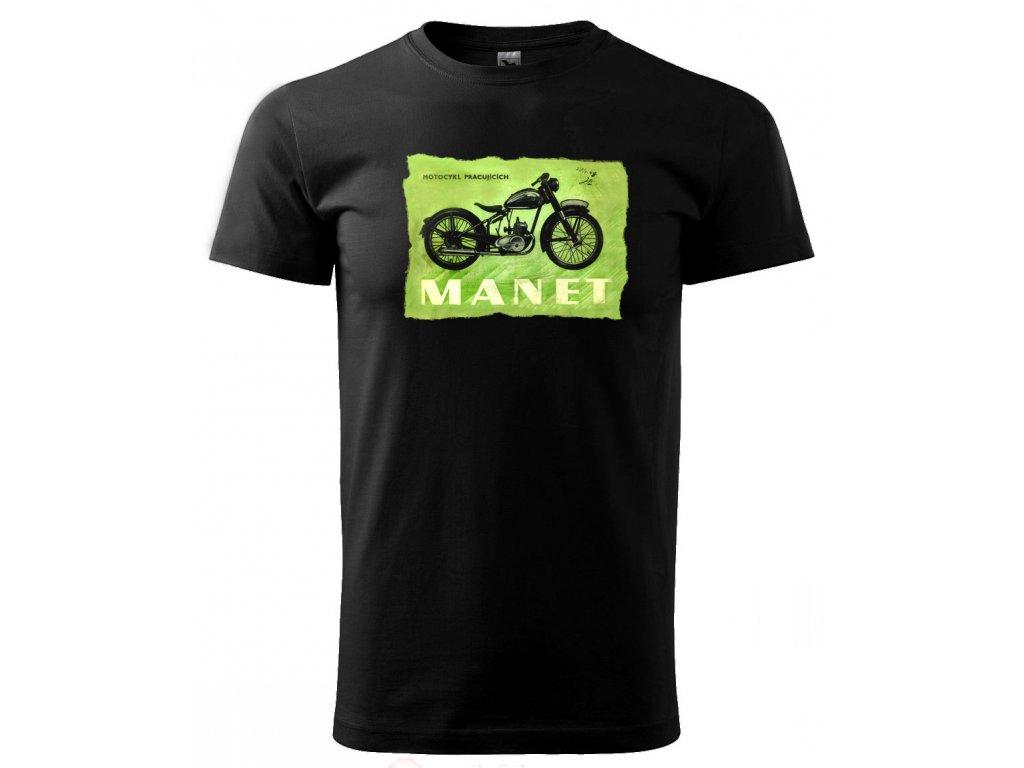 motocykl pracujících Manet černé triko