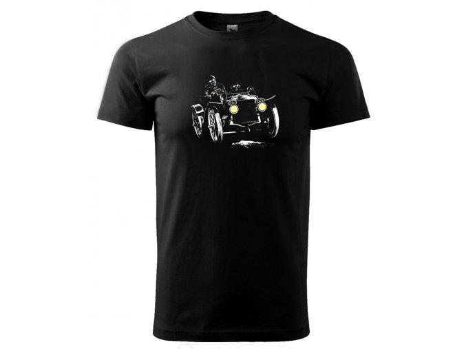 závodní auto veterán černé tričko s potiskem