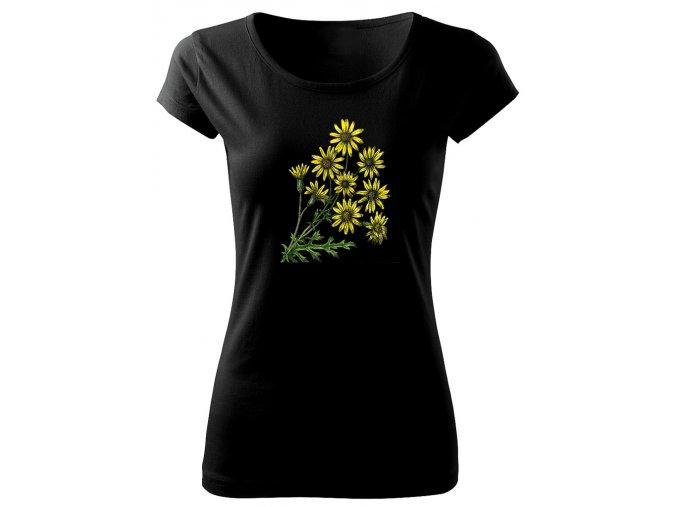 dámské černé triko se žlutým květem