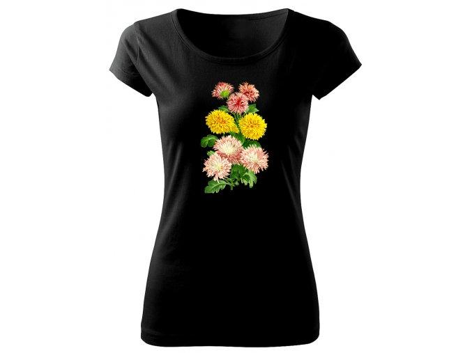 dámské triko s obrázkem kytky chrysantema