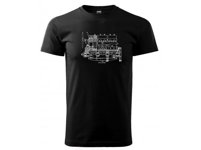 černé triko s potiskem motorista