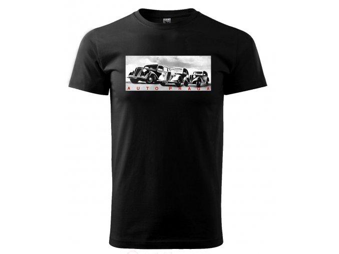Černé tričko s potiskem auto Praga