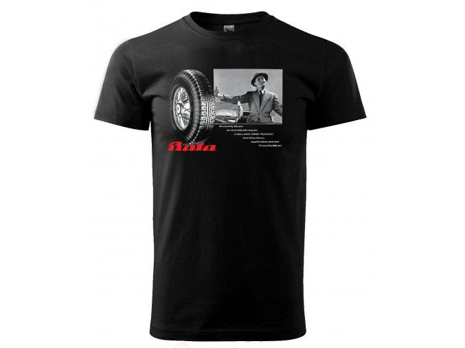 Černé tričko s potiskem Burian Baťa pneu