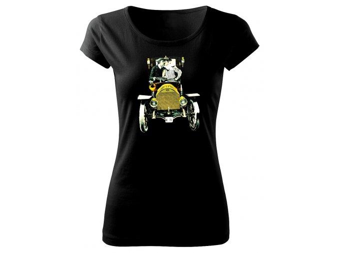 Dámské černé tričko s potiskem polibek
