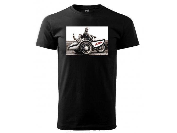 Černé tričko s potiskem sajtka jawa