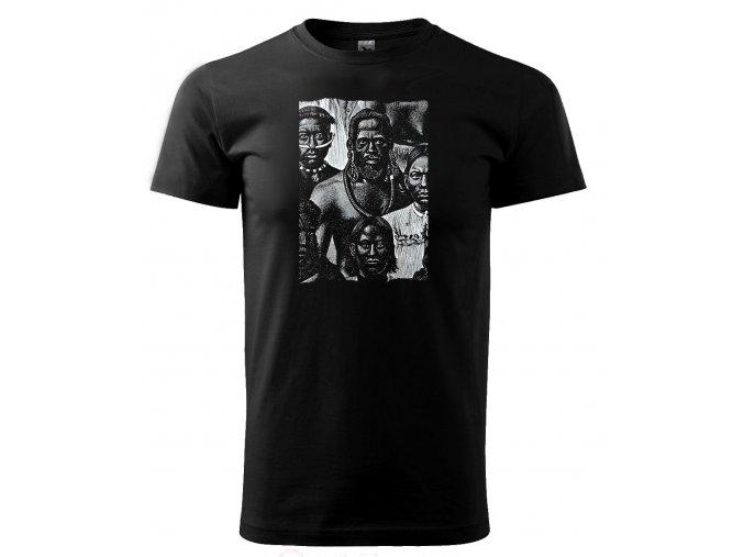 pánské černé tričko spotiskem indiáni