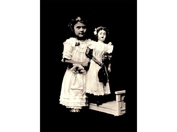 Holčička s panenkou - tričko s potiskem (Pánské/Dámské Dámské černé, Velikost XXL)