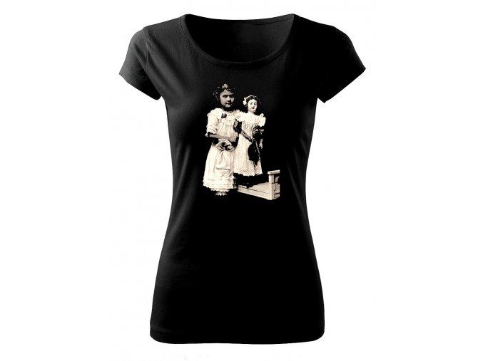 holčička s panenkou dámské tričko